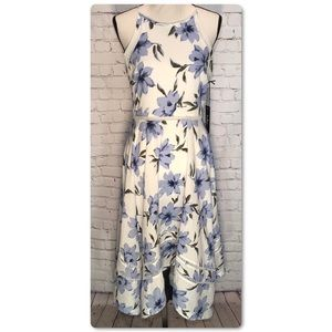 Lulu's Zahara Blue & White Floral Midi Dress
